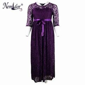 Image 4 - Женское длинное кружевное платье Nemidor, элегантное вечернее винтажное платье макси с круглым вырезом и рукавом 3/4 размера плюс, 7XL, 8XL, 9XL