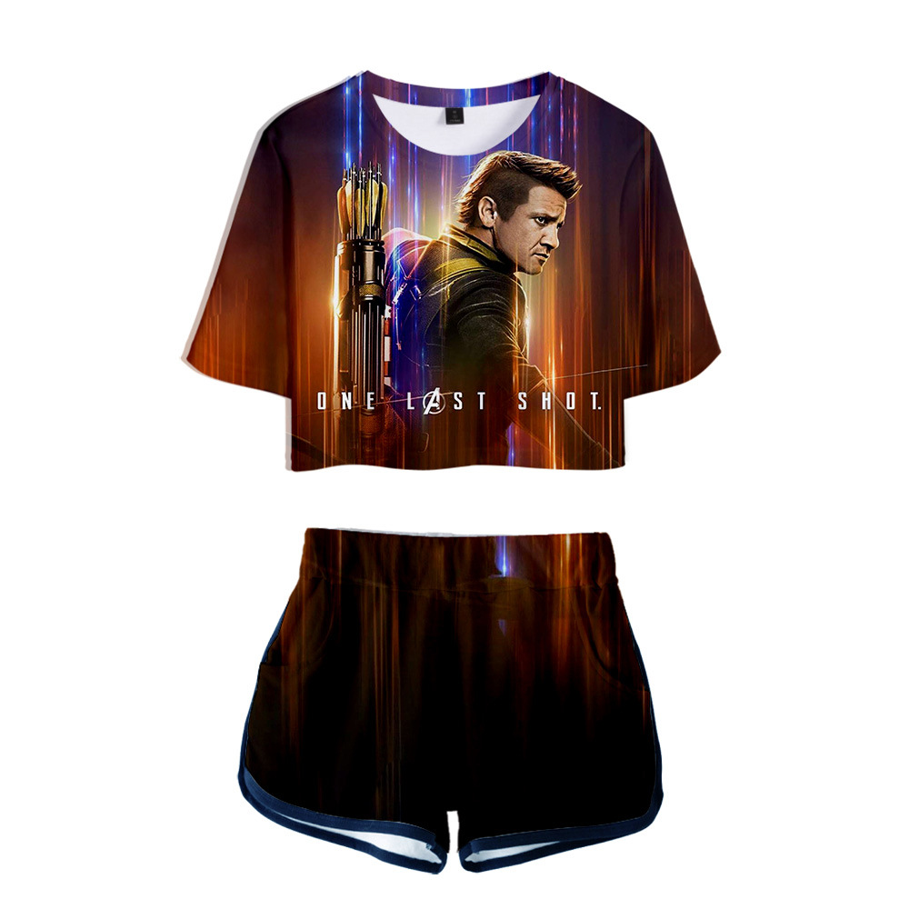 The Logo Of The 4 Avengers Endgame Quantum Suit Shows Navel And Short Sleeves + Shorts.New Men Suit Summer Sportswea T-Shirt Set