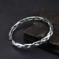 Vintage Guaranteed Solid 925 Sterling Silver Braided Twisted Bracelet For Men And Women Handmade Wire Cuff Bangles Jewelry