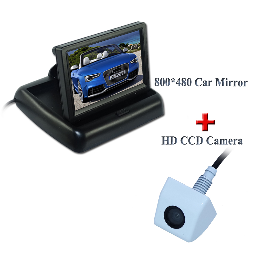 2 in 1 HD CCD rear view camera + 4.3 800*480 Car Mirror Monitor+ Car parking camera monitor Factory Promotion