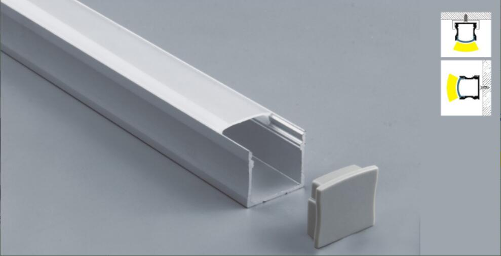 Aluminum LED Strip Fixture Channel 2 Meter Under Counter Cabinet Light Kit Aluminium Profile For LED Strip Square Opal Profile