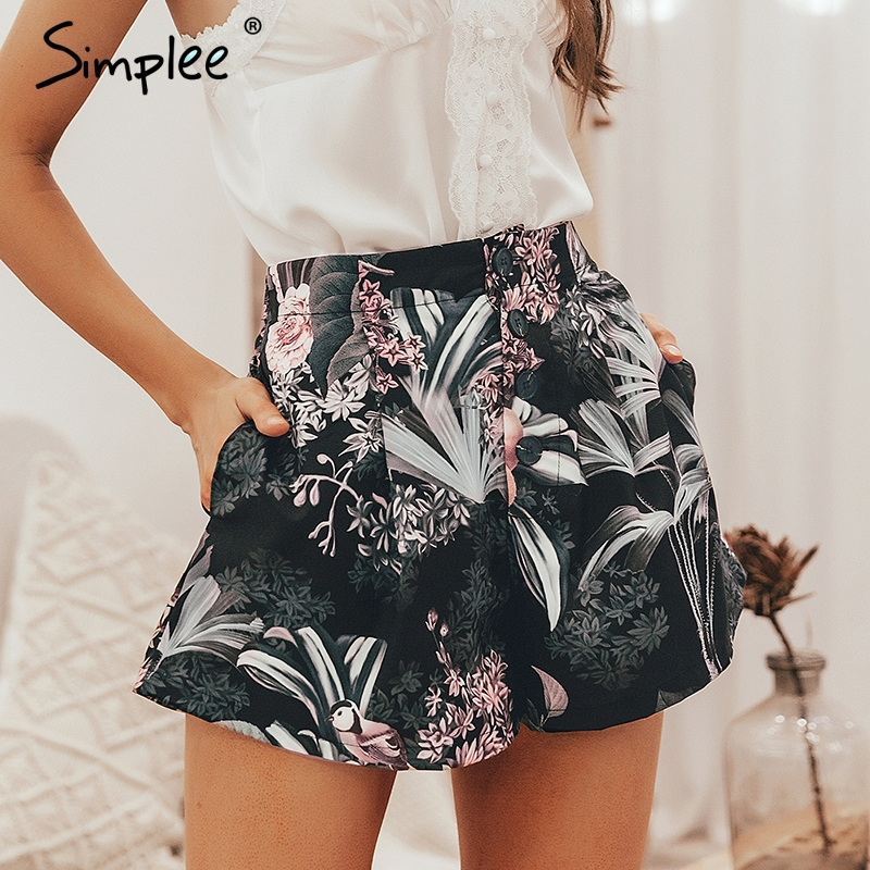 Simplee Bohemian Floral Print Women Shorts Summer Casual Button Elastic High Waist Female Bottom Shorts Streetwear Ladies Shorts