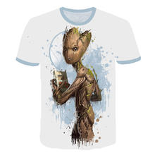 Homens Designer de Manga Curta Personalizado 3D Torcida Foguete Groot T-Shirt 5XL Guardians Of The Galaxy Guaxinim Guaxinim Tee Camiseta Camisetas(China)