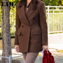 [EAM] 2019 New Spring Autumn Turn-down Collar Long Sleeve Double Breasted Pockets Temperament Jacket Women Coat Fashion JX738(China)