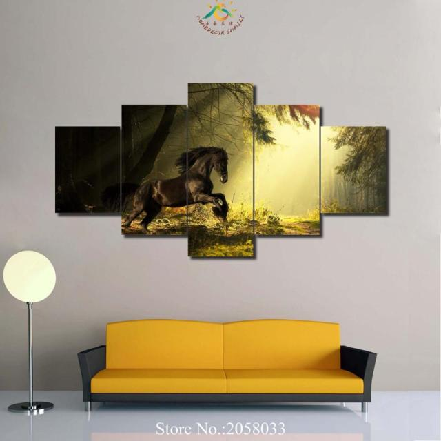 3 4 5 Pieces Animal Horse Running in Forest Wall Art Paintings ...