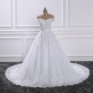 Image 2 - Vestido de novia De 2019, vestidos de Boda De Princesa, Vestido de novia De encaje con aplique para hombro, Vestido de novia De novia