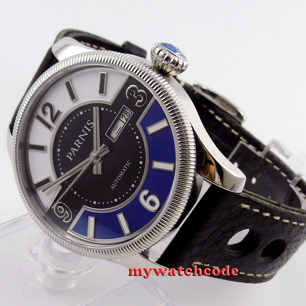42mm Parnis white black blue dial Sapphire Glass miyota Automatic mens Watch 411 42mm parnis white black dial sapphire glass miyota 8215 automatic mens watch 423