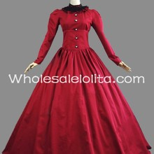 19th Century Red Long Sleeves Cotton Victorian Period Dress Ball Gown  Theatrical f0b324dd3759