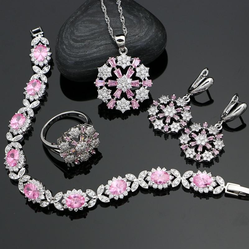 Bridal-Jewelry-Sets Wedding-Decoration Pendant/necklace 925-Silver White Flower Women