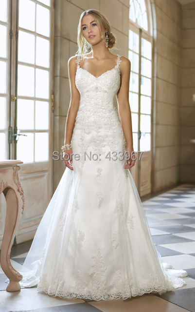 Sweetheart Neckline With Thin Straps A Line feminine Wedding Dress ...