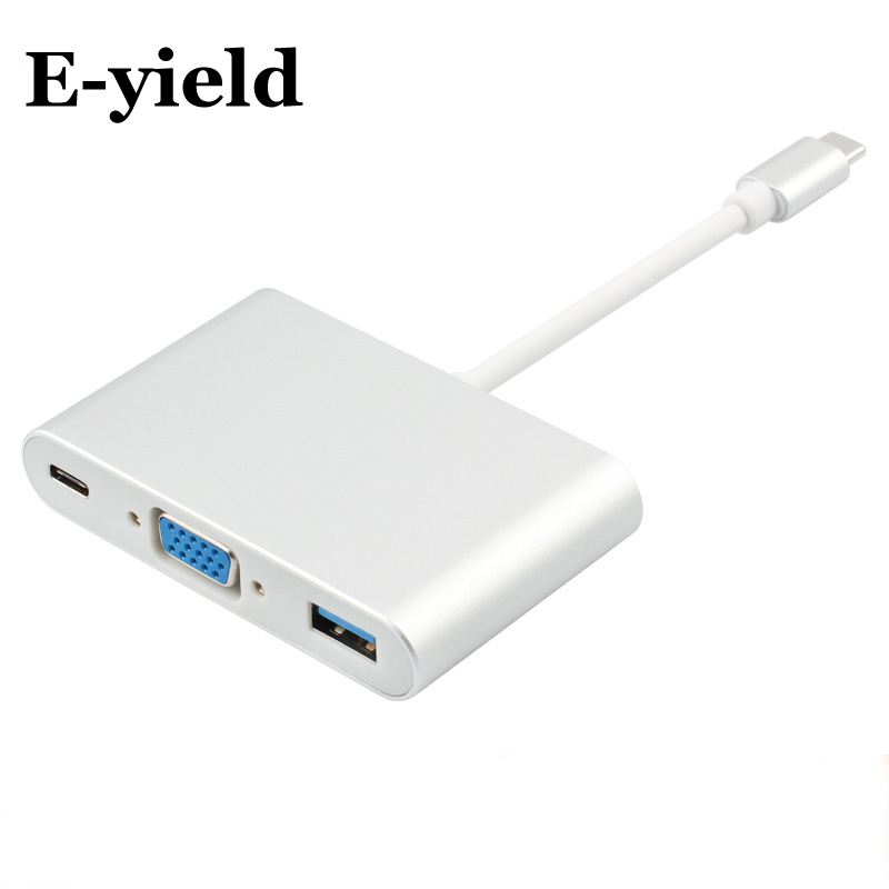 E-yield USB 3.1 Type C to VGA Digital Multiport Adapter with Female USB3.1 Type C and Female USB3.0 Charger Charging Port адаптер apple mj1l2zm a multiport adapter usb c to vga белый