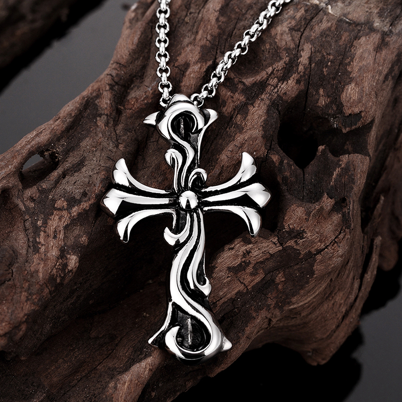 Pure Snow Top Quality Fashion Men Necklaces Pendants Jewelry Punk Style Stainless Steel Cross Pendant Necklace For Men