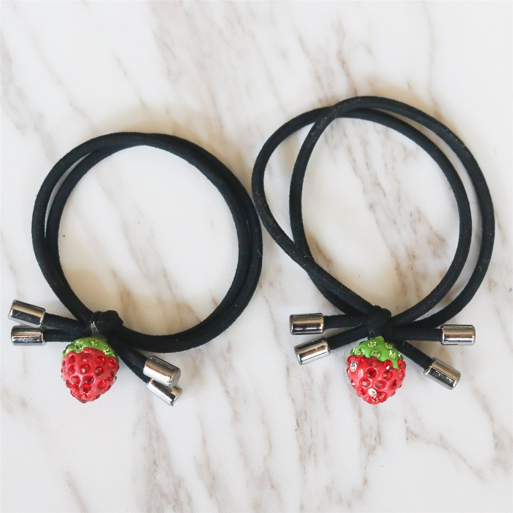 2 Pcs Fancyin Lovely Strawberry Elastic Hair Bands for Kids Rhinestone Hair Tie Hair Holder Rubber Band Headband metting joura vintage bohemian ethnic tribal flower print stone handmade elastic headband hair band design hair accessories