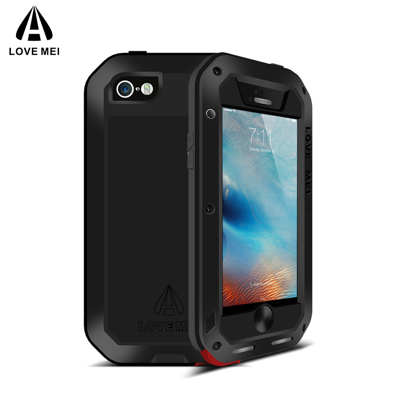 Love Mei Metal Case For iPhone 5 5S SE Shockproof Phone Cover For iPhone5 5s SE Rugged Armor Full Body Anti Fall Case iPhone SE in Fitted Cases from Cellphones Telecommunications
