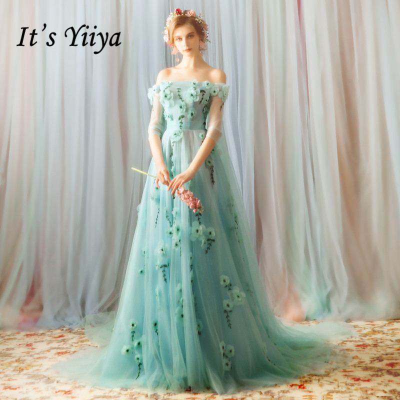 It's YiiYa Evening Dress Full Appliques Flowers Beading Long Evening Dresses Boat Neck Fashion Shawl Design Formal Gown E141