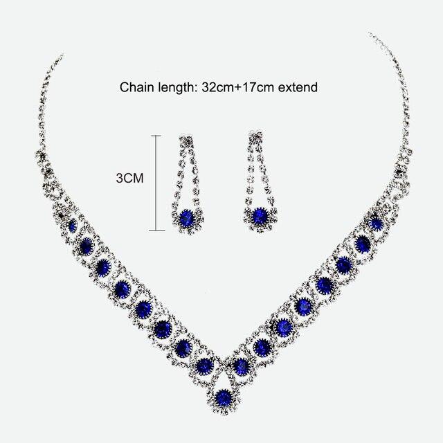 New Royal Blue Crystal Bridal Jewelry Set 6