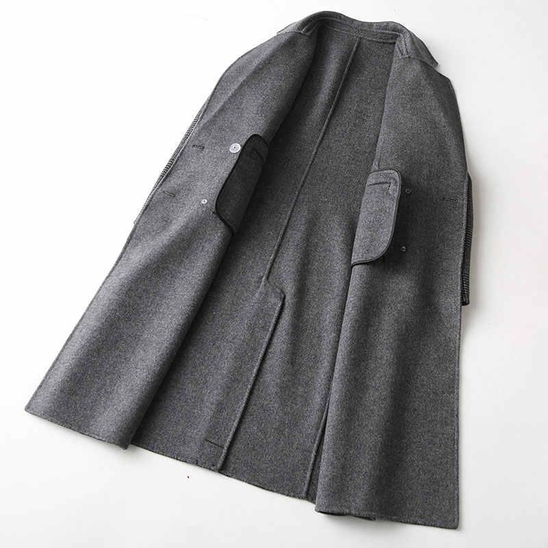 AYUNSUE Autumn Winter Coat Women England Style Plaid Real Wool Coat Female Long Jackets Outerwear manteau femme 37121 WYQ1183