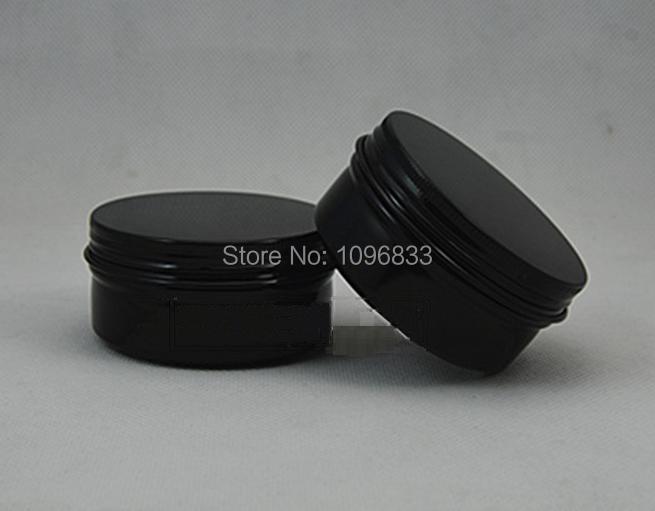 80g Schwarz Farbe Aluminium Topf, 80 ml Duft Rauch Glas, aromatherapie Container, aromatherapie Glas, metall Sahneglas, 50 teile/los