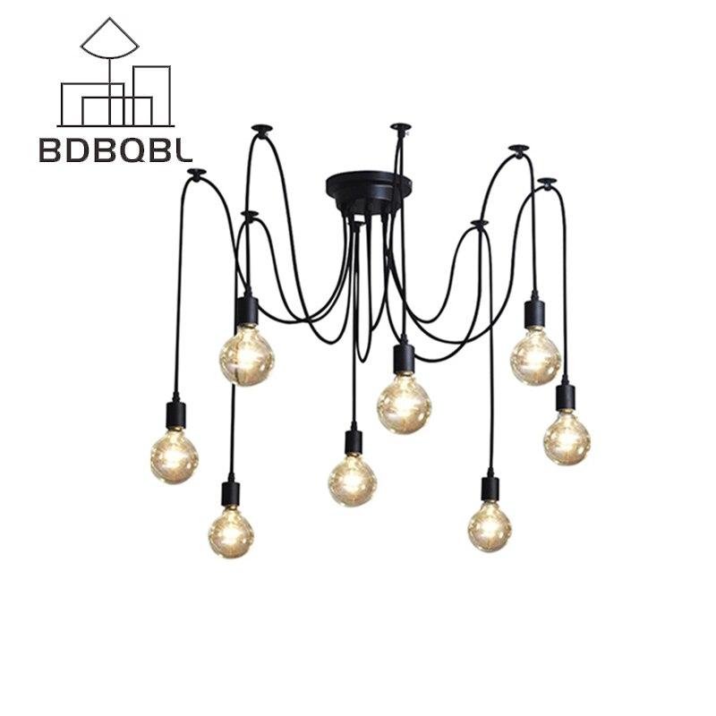 BDBQBL Mordern Nordic ретро Edison лампочки Люстра Винтаж чердак античный регулируемый DIY E27 Книги по искусству паук потолочного светильника