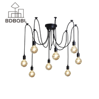 BDBQBL Mordern Nordic Retro Edison Bulb Light Chandelier Vintage Loft Antique Adjustable DIY E27 Art Spider