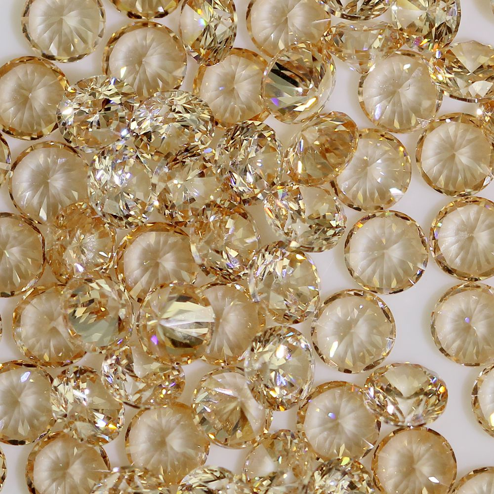 100pcs 1mm-4mm 5A Round Beads Cut CZ Stone Brilliant Champagne Color Cubic Zirconia Synthetic Gems stone