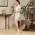 2017 New Summer Fashion Hand Plate Buttons Print Cheongsam Cotton Cheongsams Slim Party Dresses Chinese Traditional Style