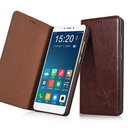 High quality genuine leather flip case for Xiaomi Mi MAX 2(6.44') phone cover for Xiaomi Mi MAX 2 phone case