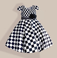 Big Size Girls Dresses Black White Plaid Kids Dress with tutu Flower Bow Fashion Summer Cotton Children Clothes