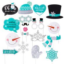 18pcs Frozen Party Glittery Photo Booth Props Snowflake Snowman Christmas Decorations Kids Birthday Party Baby Shower цена 2017