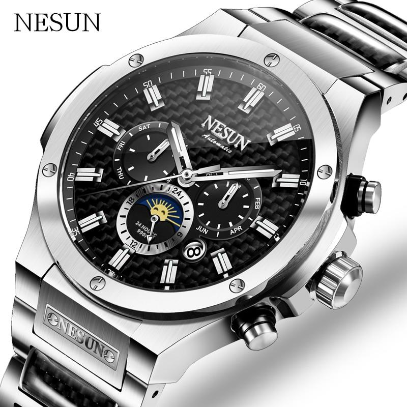 все цены на NESUN Men Business Fully automatic Mechanical watch Stainless steel belt Waterproof calendar Watch Relogio Masculino онлайн