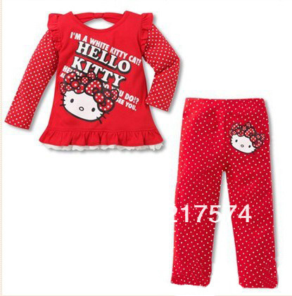 Wholesale Hello Kitty Girls 2013 Princess long sleeve t-shirt+pants clothing set 100% cotton free shipping red/pink  In Stock