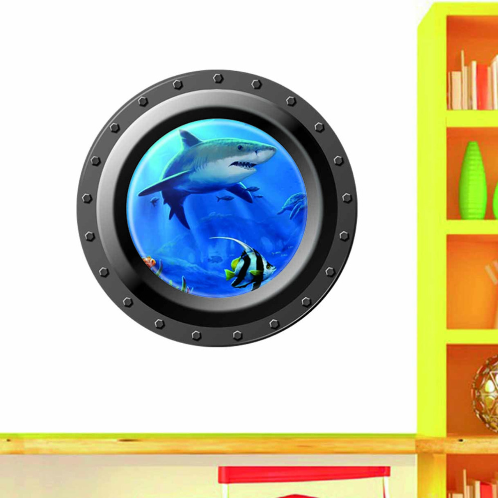 3d ocean view window submarine wall sticker home decals for Porte 7th sea