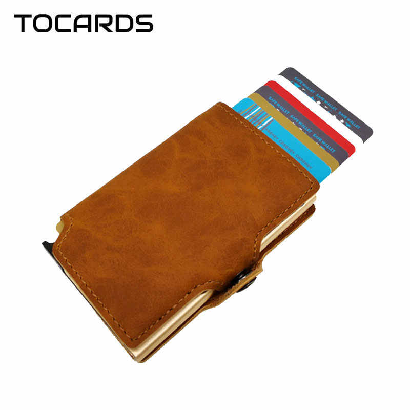 RFID Blocking Vintage Automatic Leather Credit Card Holder Men's Metal Aluminum Alloy Business ID Cardholder Slim Wallet Purse
