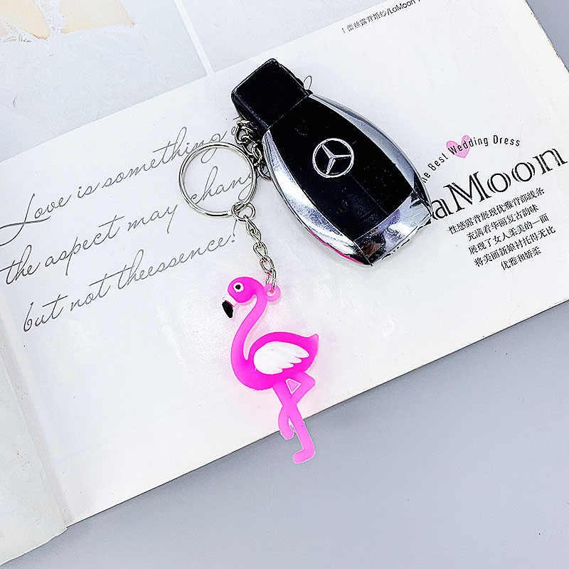 Nuevo lindo flamenco, forma de avestruz PVC material suave llavero colgante niña mochila coche llave colgante pequeño regalo