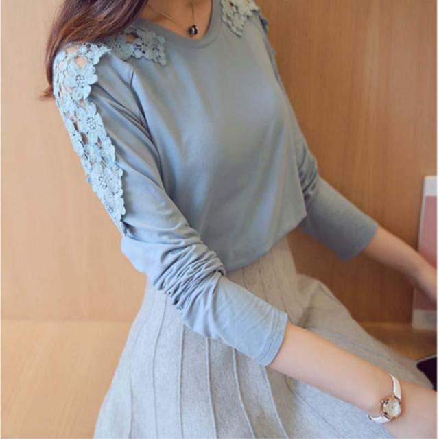 2017 Spring  Autumn New Fashion Women Top Long Sleeved Shirt Female Thin Solid Color Lace shirt