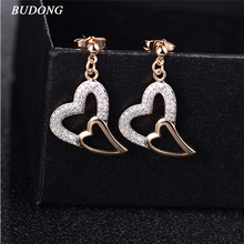 BUDONG Luxury Gift Infinity Wedding Jewelry Silver/Gold Color Stud Earrings for Ladies Clear Stone Women Earring Jewelry XUE600