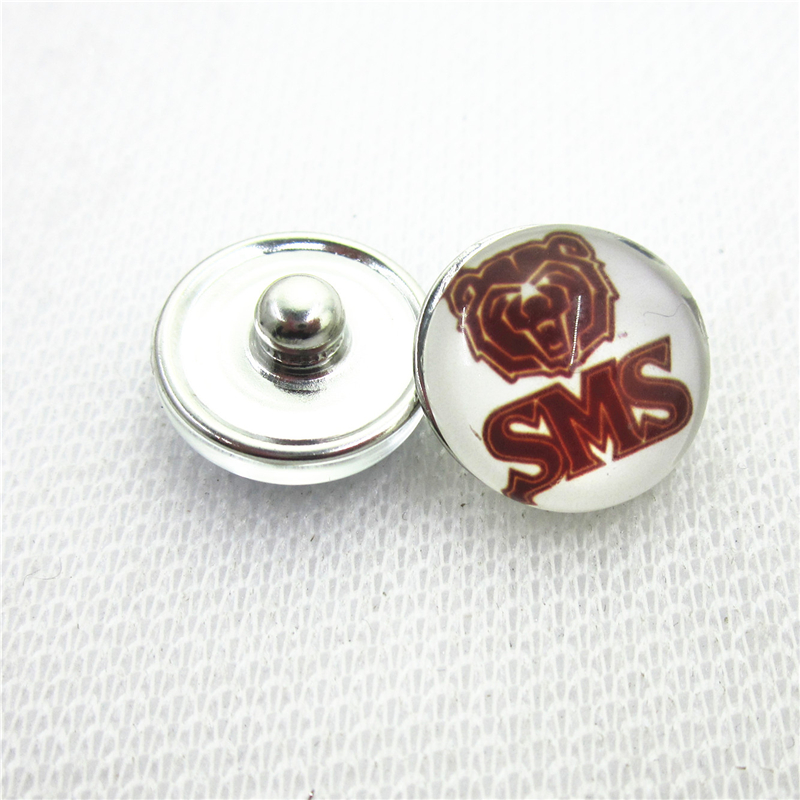 10pcs NCAA Southwest Missouri State Bears snap buttons Glass 18mm Sports buttons Diy Snaps Jewelry Bracelet&bangles charms