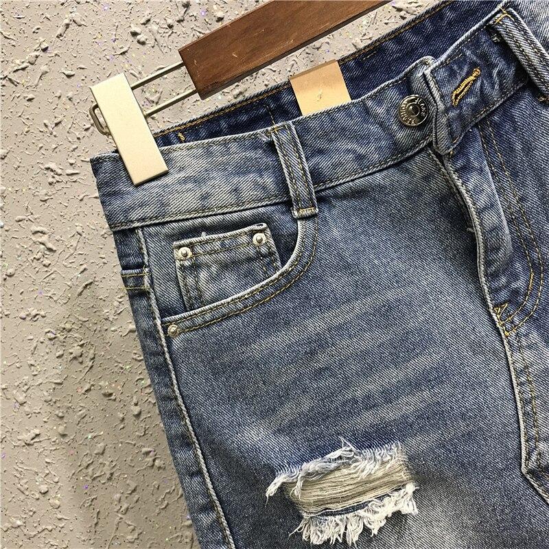 d5d62dea1 Fashion Hole Ripped Mini Short Jeans Skirt Casual High Waist Womens Pencil  Skirt 2018 Summer Sexy Plus Size Denim Skirts | 4Eva