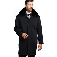 Зимние Утепленная одежда Для мужчин куртки длинное однотонное Цвет Тренч 100% мех лайнер пальто Повседневное пальто для мужчин куртки верхня