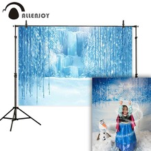 Allenjoy photographic background Frozen palace waterfall winter snow fairy christmas new year backdrop photo studio photocall