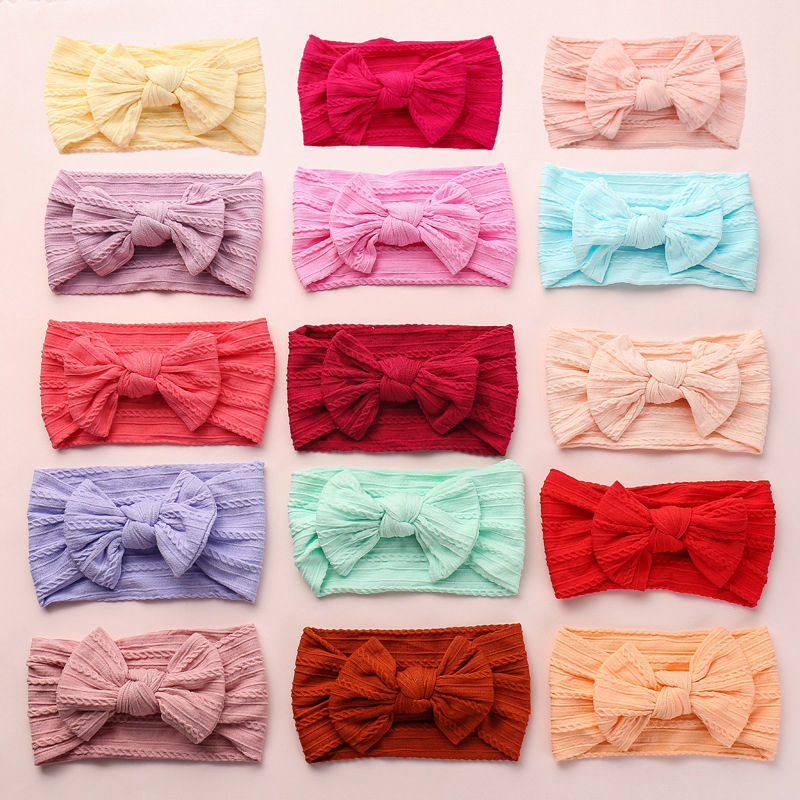 Nylon Cable Knit Baby Headband One Size Fits ALL Ages Soft Nylon Baby Headbands Knot Bow Nylon Baby Headwrap CABLE KNIT HB332S