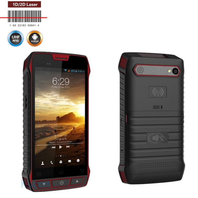 "2D Escáner de código de Barras Android Lector RFID UHF de mano PDA Terminal 5.0 ""3G Colector de Datos Wifi Smartphone Resistente A Prueba de agua NFC"