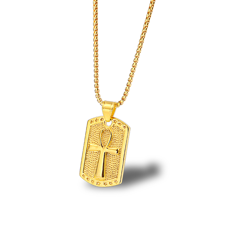 Gold Egyptian Anubis Pendant Necklace Ankh Cross Unisex Simple The Nile Women Men