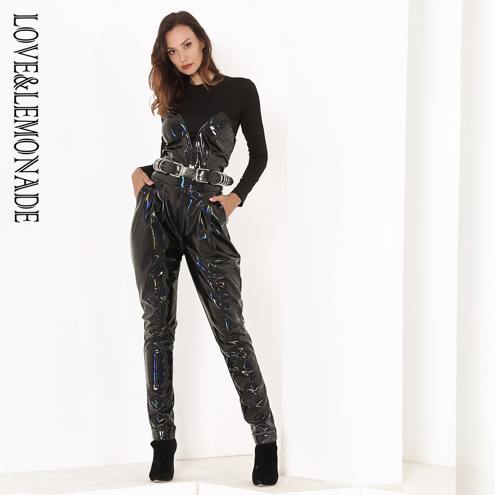 Love&Lemonade Black Deep V-neck Colorful Reflective PU Material   Jumpsuits  (No top and no belt) LM81496