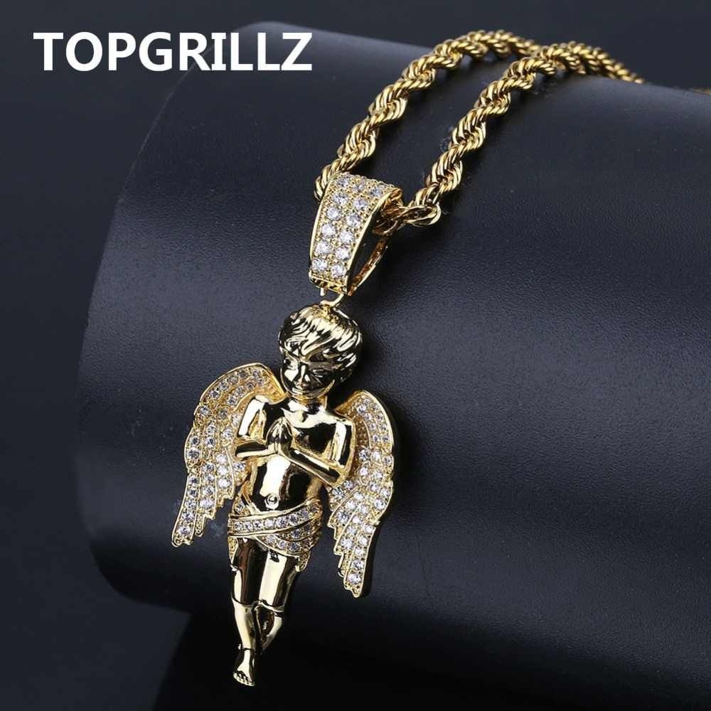 TOPGRILLZ HipHop Men Women Necklace Gold Color Plated Iced Out Micro Pave CZ Stone Angel Pendant Necklaces Love'sblessing Gifts