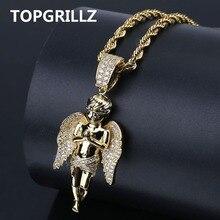 Topgrillz Hiphop Nam Nữ Vòng Cổ Vàng Màu Sắc Mạ Đá Ra Micro Mở Đường Viên Đá CZ Thiên Thần Mặt Dây Chuyền Cổ Lovesblessing Quà Tặng