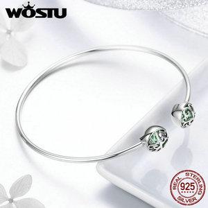 Image 3 - WOSTU Real 925 Sterling Silver Tree of Life Green Crystal CZ Women Open Cuff Bangle & Bracelet Luxury Silver Jewelry CQB057
