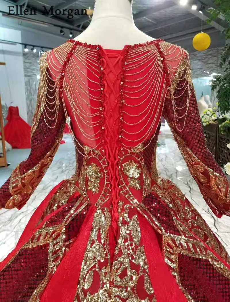 Image 5 - Burgundy Long Sleeves Wedding Dresses with Gold Lace Puffy Boat Neck Chapel Train Corset Luxury Princess Vintage Bridal Gowns-in Wedding Dresses from Weddings & Events