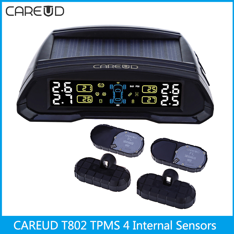 CAREUD T802 433.92MHz Wireless Auto Car TPMS Solar Power Tire Pressure Monitoring System Tyre Alarm System 4 Internal Sensors tpms lcd display car wireless tire tyre pressure monitoring system 4 internal sensors for cars solar power d10