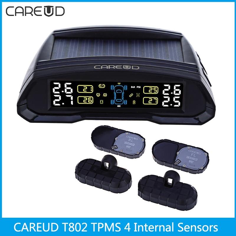 CAREUD T802 433.92MHz Wireless Auto Car TPMS Solar Power Tire Pressure Monitoring System Tyre Alarm System 4 Internal Sensors стоимость